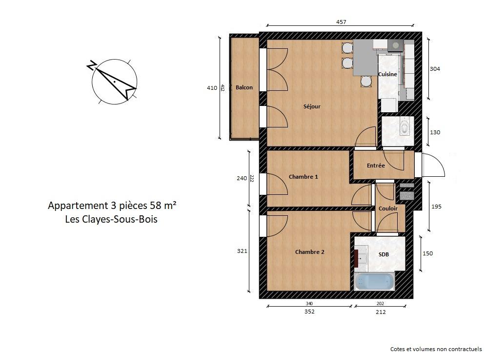 plan appartement 3 pièces