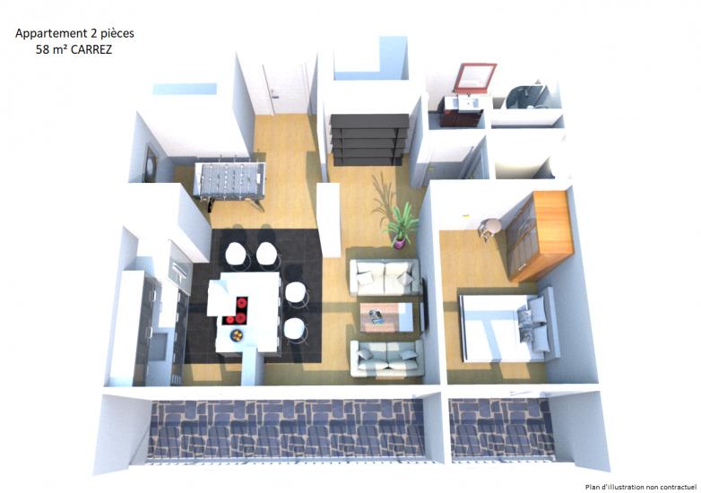 2 plan 3d appart 1026 reevols. Black Bedroom Furniture Sets. Home Design Ideas